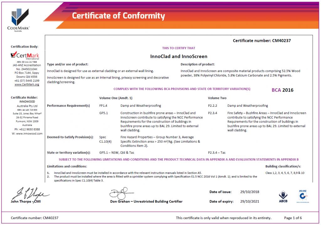 CertMark Codemark Innowood Australia
