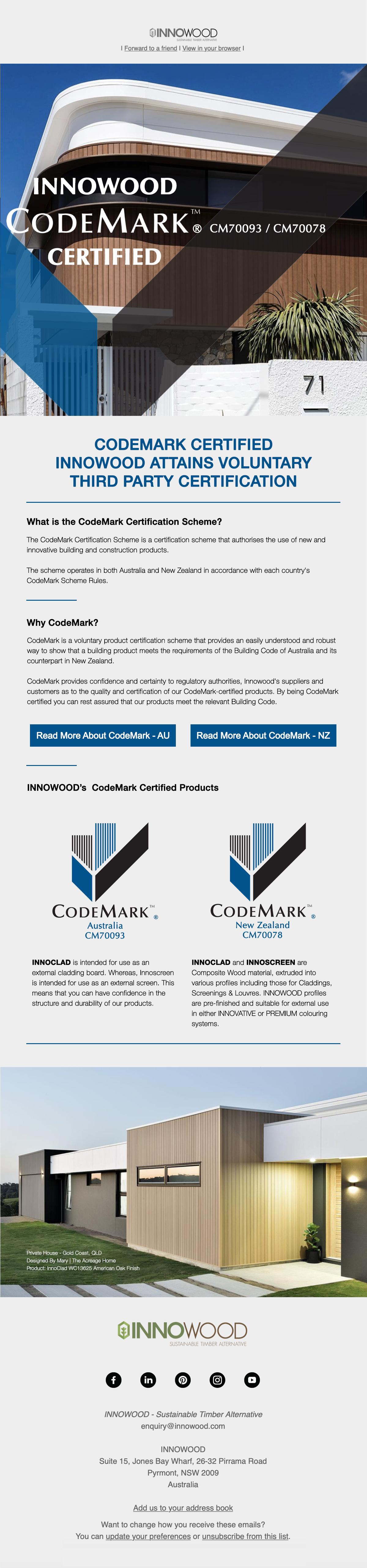 INNOWOOD CodeMark Australia Certified - V2